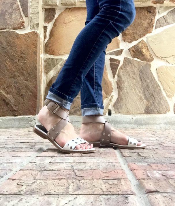 Summer sandal, white and beige sandal, silver embellishments, Rebecca Minkoff 2016, casual, netural