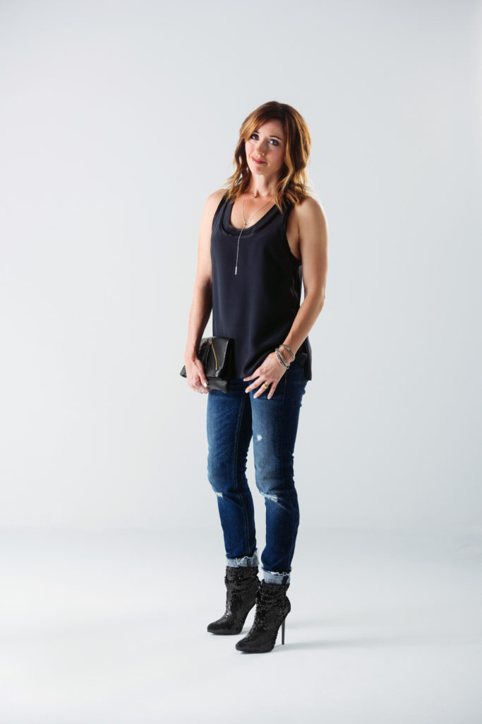 Black Silk Rag & Bone Tank, Distressed Rag & Bone Dre jeans, sequined boots, leather clutch, delicate silver accessories
