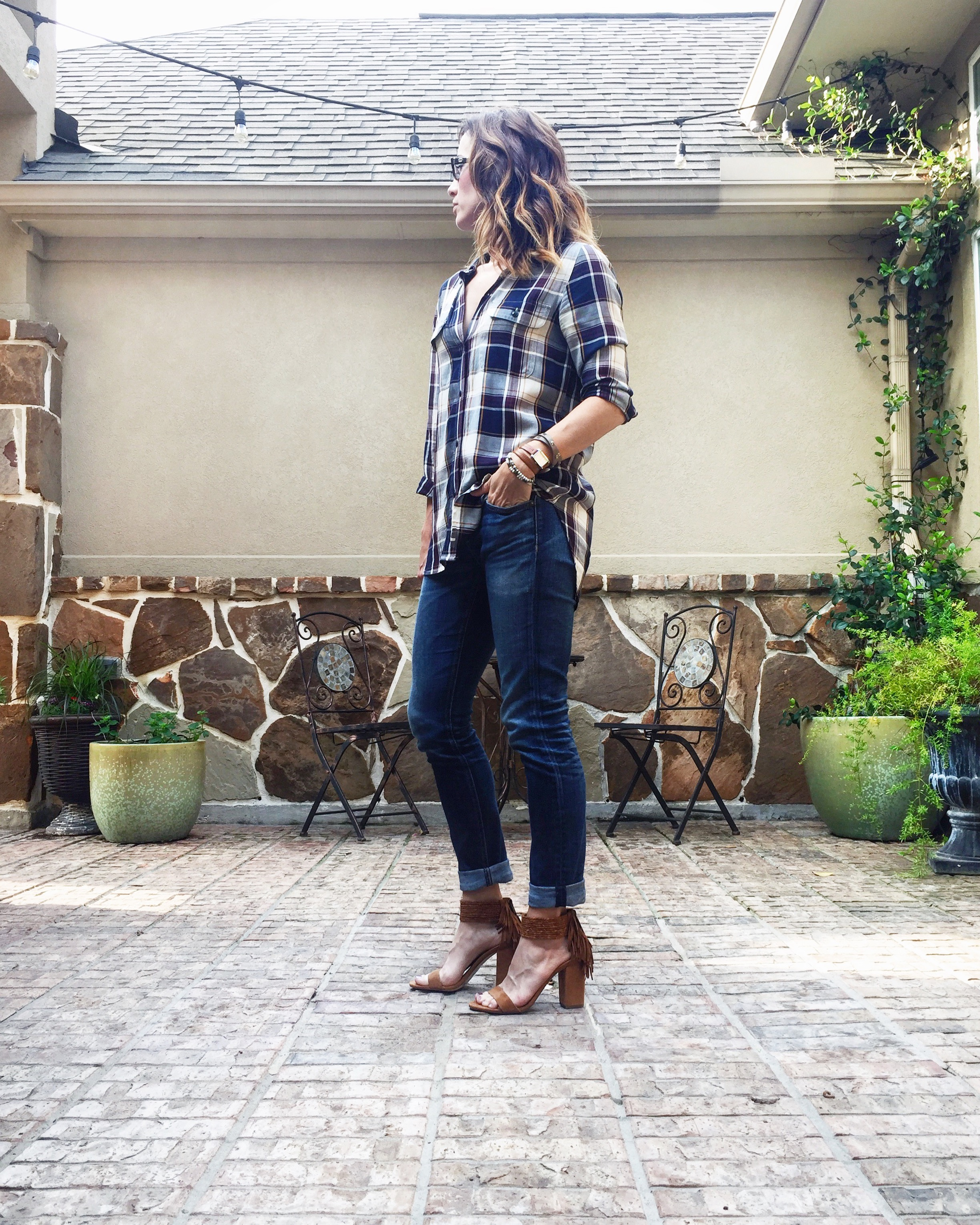 madewell, plaid, button up, casual look, everyday style, method39, suede heels, rag and bone denim, BCBGeneration heels, mystyle
