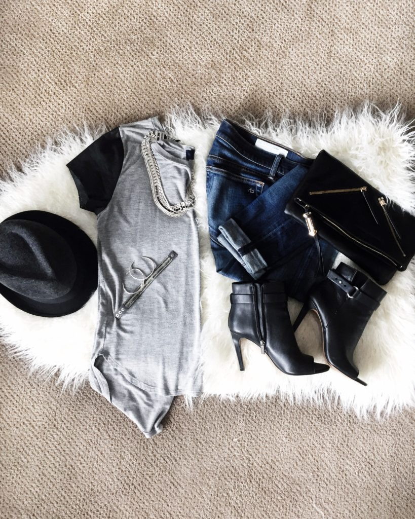 Rag & Bone Designer denim, leather open toed booties, casual slouchy tshirt, felt fedora and leather clutch