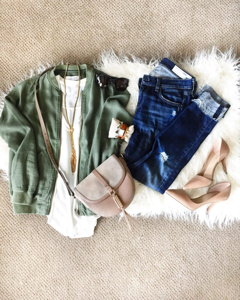 Camo green bomber jacket, flowy cream v-neck tank top, Rag & Bone distressed designer denim, nude pointed toe heels and leather and suede crossbody bag