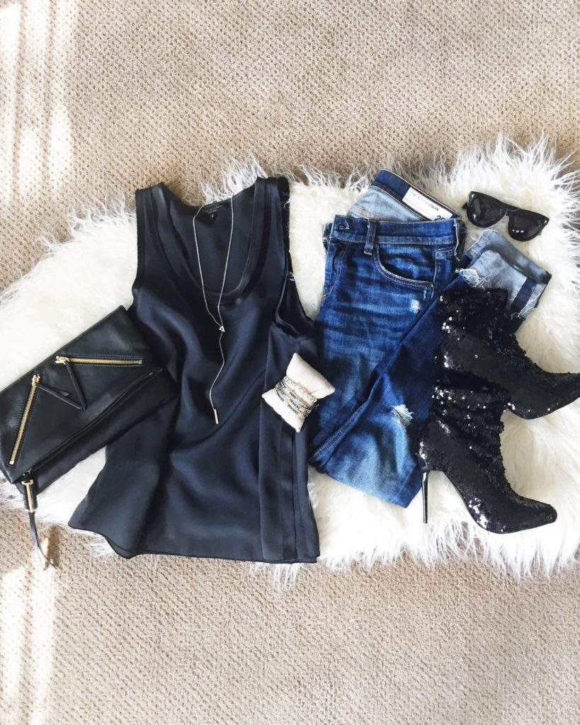 Black satin tank, Rag & Bone denim, sequined booties, leather clutch, black sunglasses