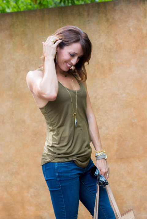 olive green Trouve tank top with zipped up racer back for everyday casual style