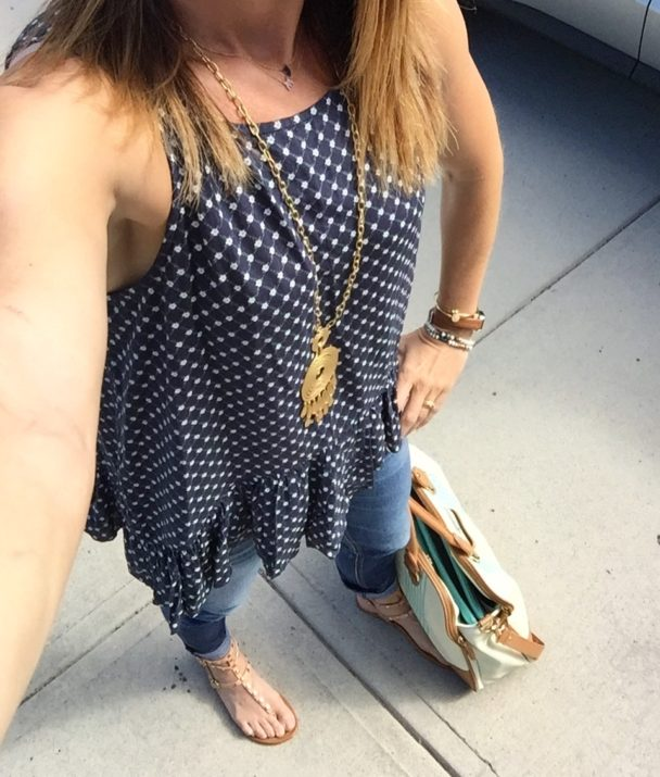 travel, outfit, comfortable, home, tank, jeans, sandals