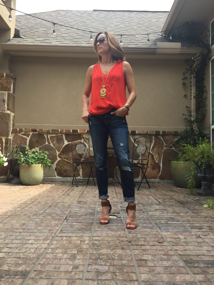 red, tank, vneck, pretty, casual, everyday, gold, denim, pretty