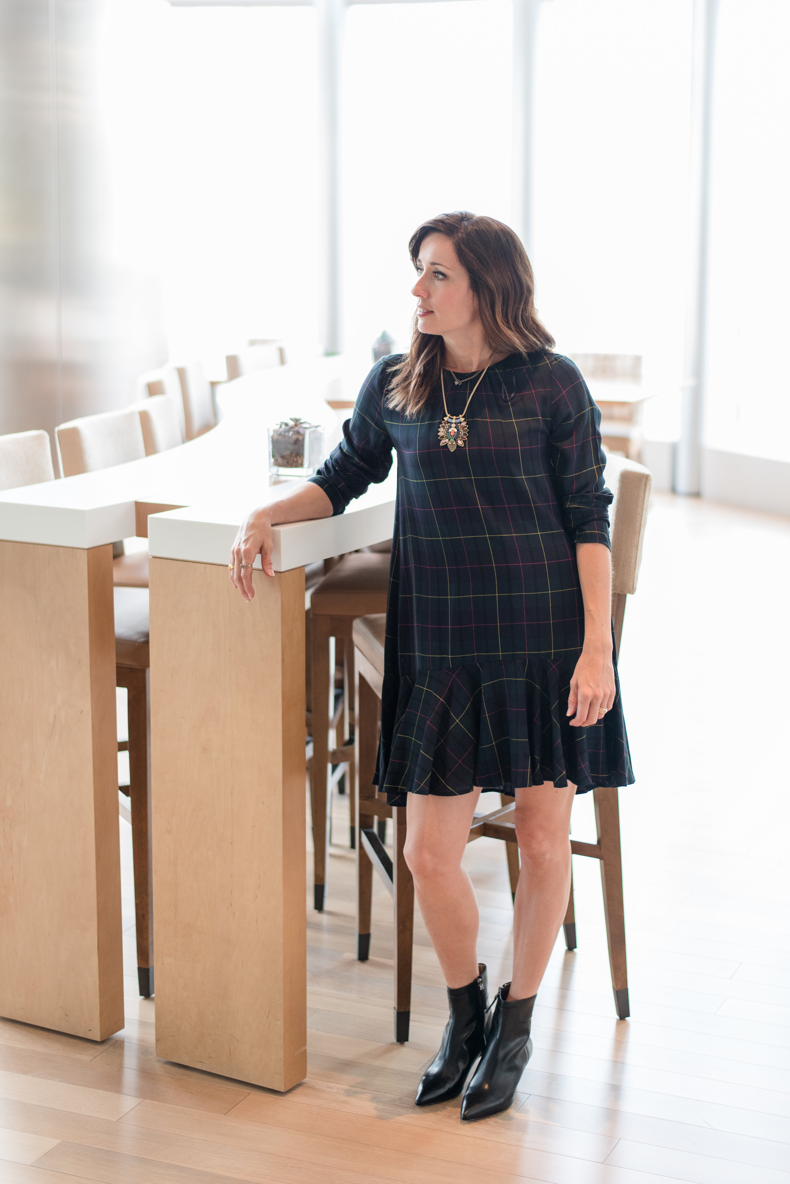 navy, green, plaid, dress, zara basic collection, pretty, feminine, everyday style, on trend, ankle booties, statement necklace, The Westin The Woodlands, fall fashion,