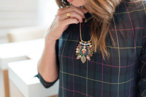 green, navy, plaid, dress, fall fashion, everyday style, statement necklace, accessorize, colorful, gold, finish the look