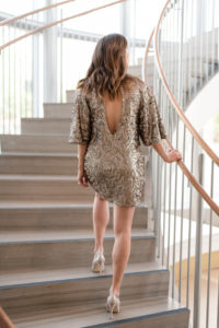 sparkly, dresses, sequins, holiday parties, cocktail dress, champagne, open back, miniskirt, method39, your stylist, party time, stairwell, the westin the woodlands