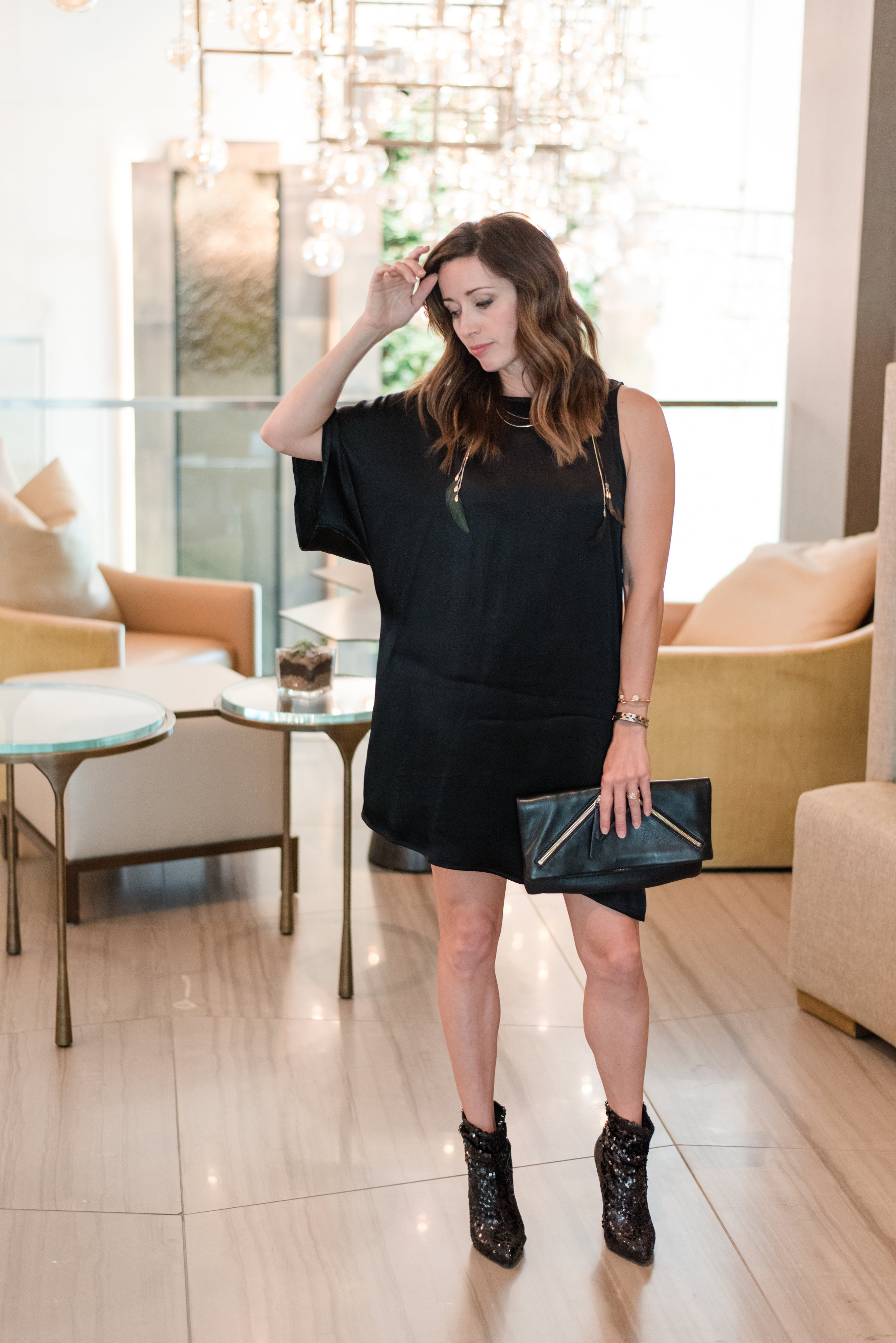 little black dress, holiday parties, monochrome, satin, sequins, leather, holiday style, method39, what to wear, party style,