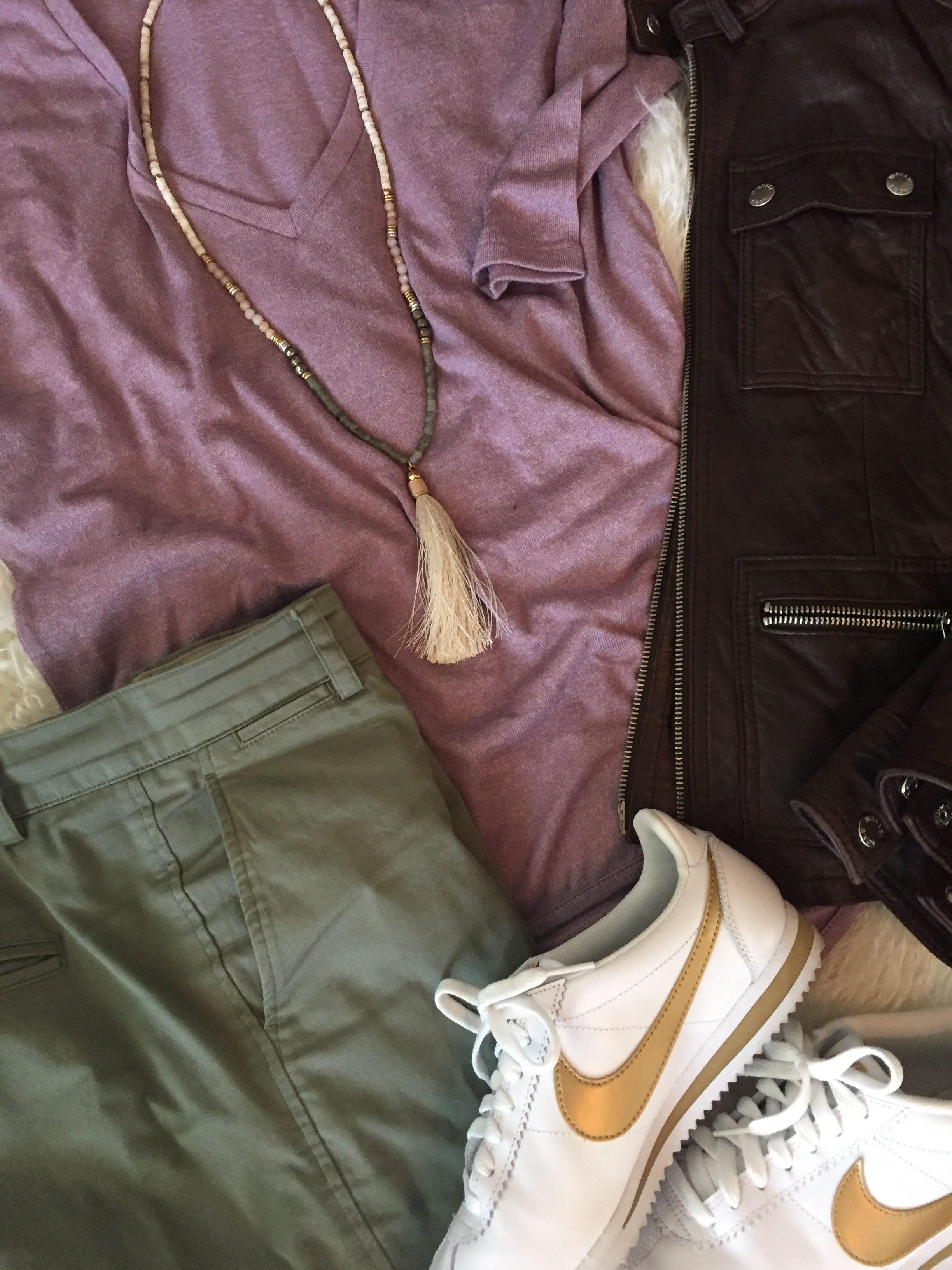 Express, Tshirt, fall fashion, dressy, casual, wear it, all the ways, mauve, camo green, khaki's, leather, nike, everyday style, wardrobe stylist, your stylist