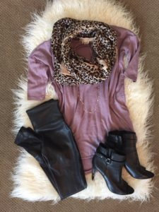 mauve, Express, Tshirt, slouchy, casual, dressy, spanx, faux leather, leggings, night out, leopard, scarf, fall fashion, open toe booties, leather, BCBGeneration