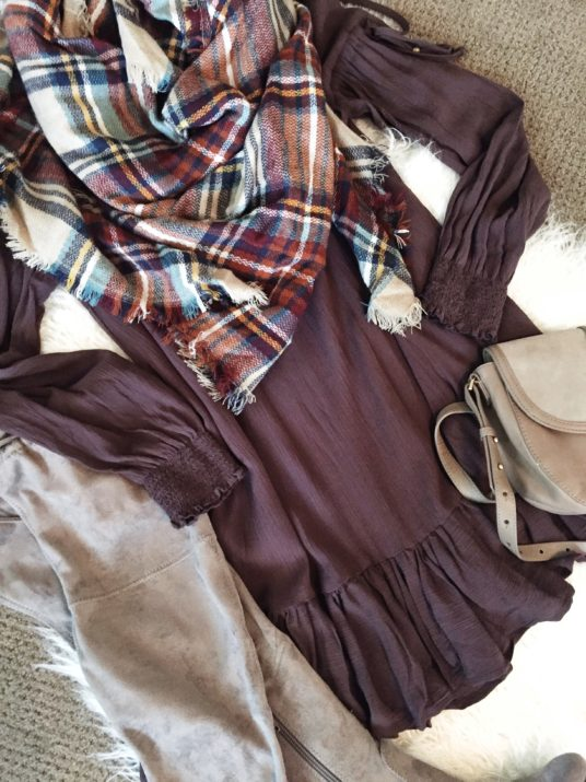 Blanket Scarf, plaid, finish the look, accessorize, neutrals, suede, wardrobe stylist, your stylist, method39