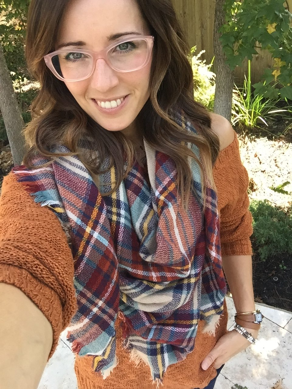 plaid blanket scarf, dsw, fall fashion, layered look, off the shoulder sweater, orange and pink, versace glasses, method39, wardrobe stylist