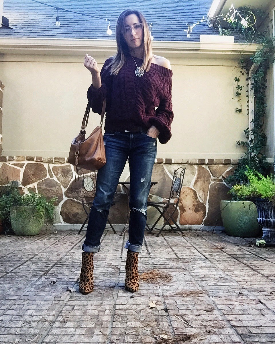 front tuck, sweater weather, burgandy express sweater, off the shoulder, rag and bone denim, distressed jeans, leopard heels, method39, my style, my method, wardrobe stylist, everyday style, wear it