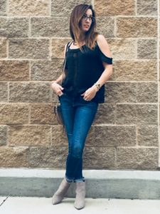 black, cold shoulder, blouse, pajama shirt, agjeans, denim, cuff, faux suede booties, mid heels, ankle boots, pointed toe, method39, your stylist, wardrobe consultant, as seen on me, your stylist, method to style