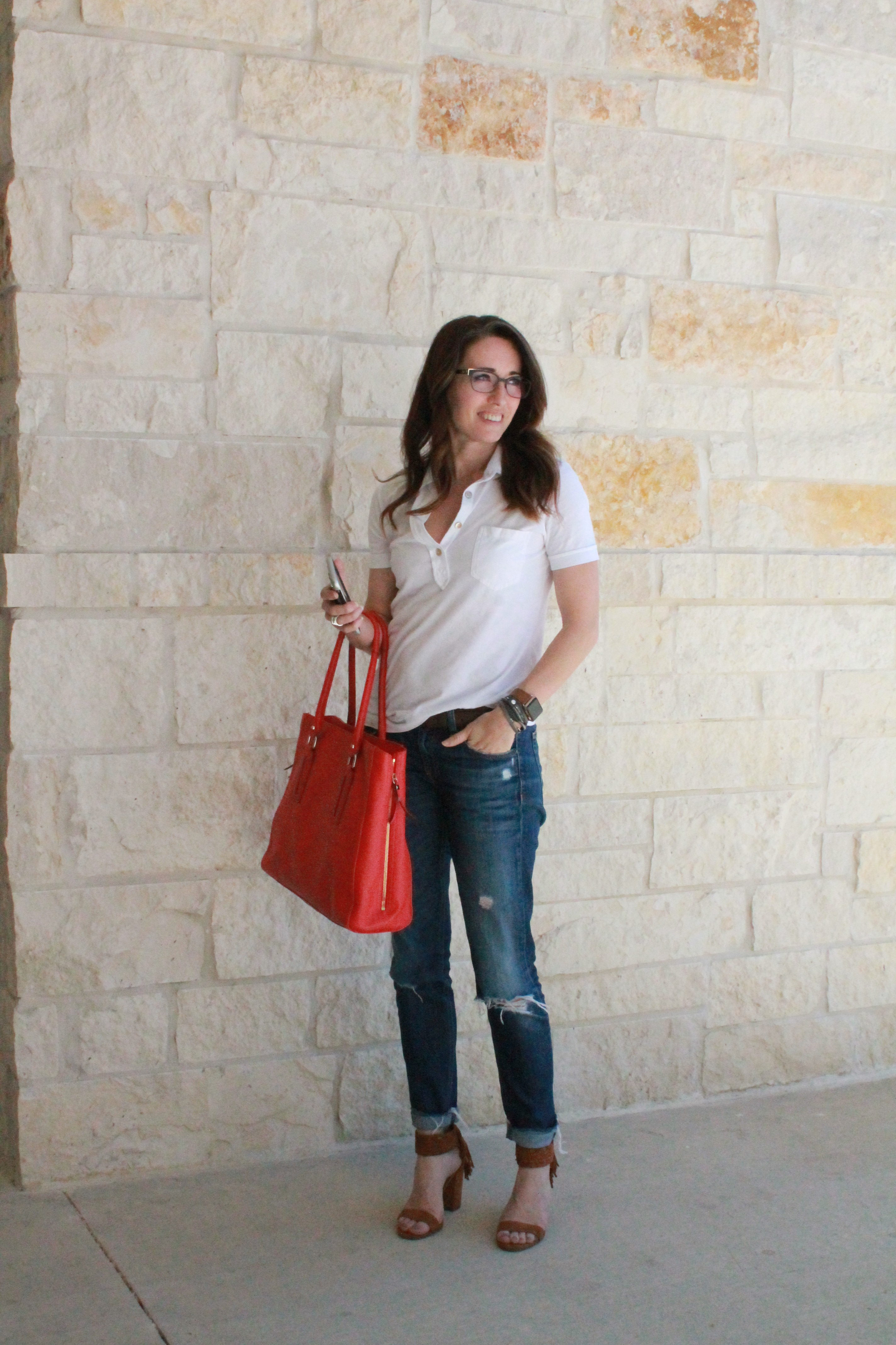 wardrobe stylist, personal stylist, method39, everyday street style, mom on the go, casual, classic, my style, red, white, blue, heels, today's look